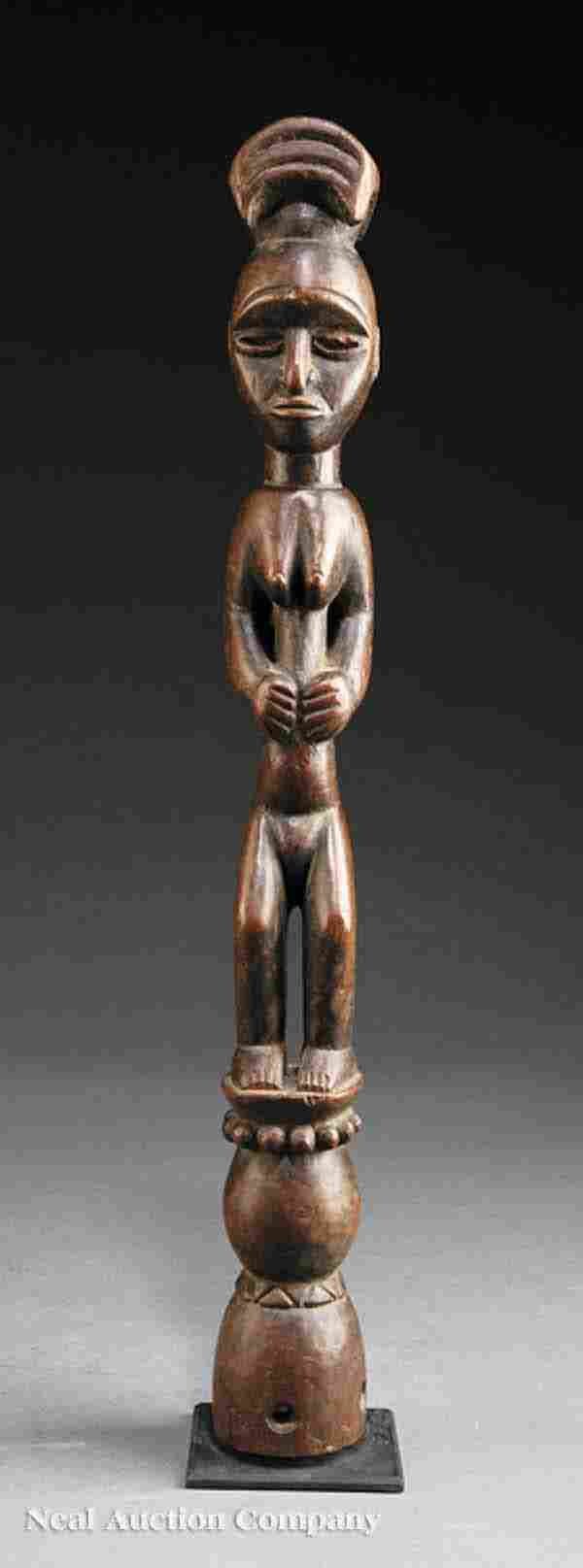 An Oron or Eket Carved Wood Figural Staff Finial