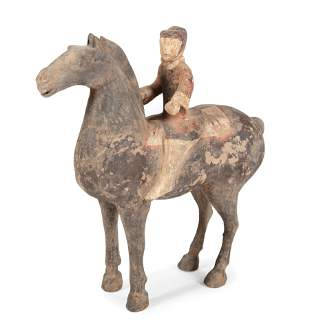 Chinese Painted Pottery Equestrian Group