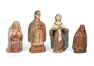 Four Antique Polychromed Madonna Figures