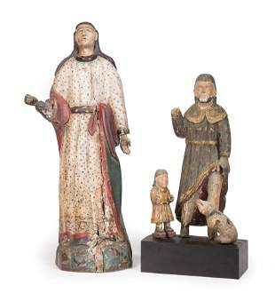 Two Antique Polychromed Figures of Saints