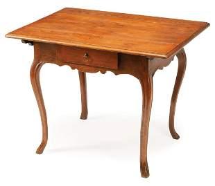 Provincial Louis XV-Style Oak Tea Table