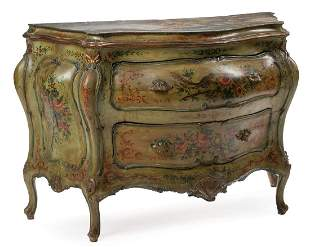 Venetian Painted Bombe Commode and Mirror