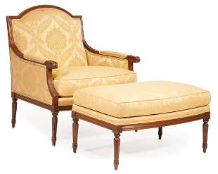 Louis XVI-Style Bergere and Ottoman