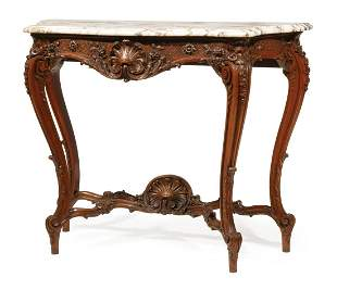 Louis XV-Style Carved Mahogany Console Table