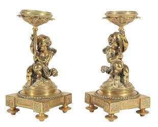 Polished Bronze Figural Candelstands