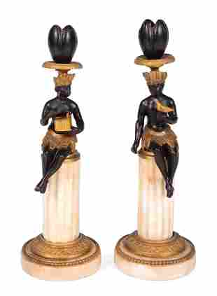 Bronze and Marble Figural Candlesticks