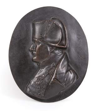 Continental Bronze Plaque of Napoleon