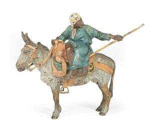Cold Painted Bronze Figure on Donkey