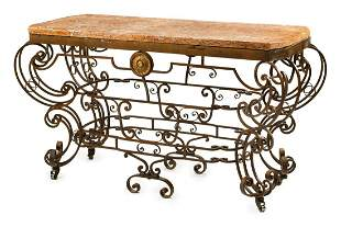 Gilt Bronze, Wrought Iron and Marble Console