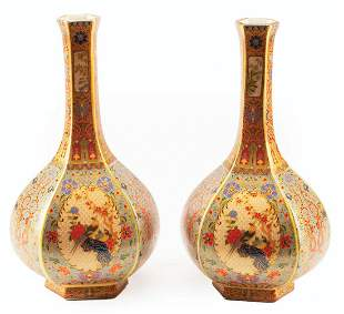 Chinese Polychrome Porcelain Bottle Vases