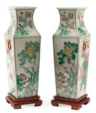 Chinese Famille Verte Porcelain Vases