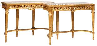 Louis XVI-Style Carved Giltwood Consoles
