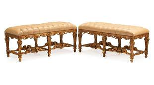 Louis XIV-Style Carved Giltwood Benches