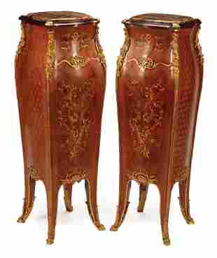 Marquetry and Parquetry Bombe Pedestals