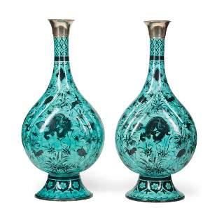 Silver-Mounted Samson Bottle Vases