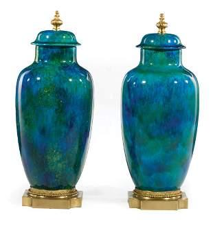 Paul Millet Sevres Porcelain, Bronze Urns
