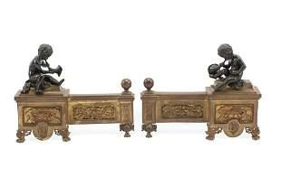 Pair of Napoleon III Bronze Figural Chenets