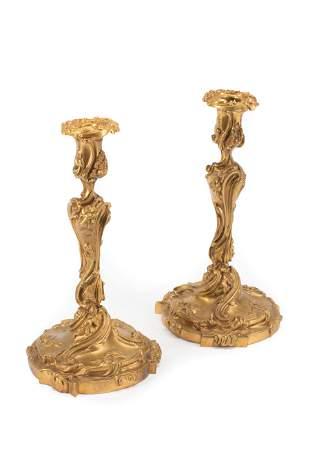 Louis XV-Style Gilt Bronze Candlesticks