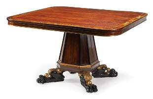 Brass Inlaid Rosewood Tilt-Top Center Table