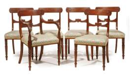 Six Regency Carved Mahogany Dining Chairs