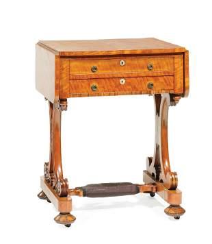 Regency Carved Satinwood Work Table