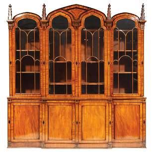 Regency Inlaid Mahogany Breakfront-Bookcase