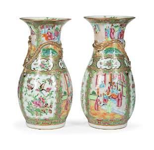 Chinese Export Famille Rose Porcelain Vases