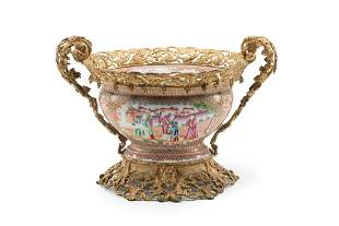 Bronze-Mounted French Porcelain Serving Bowl