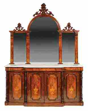 Carved and Burled Walnut Marquetry Sideboard