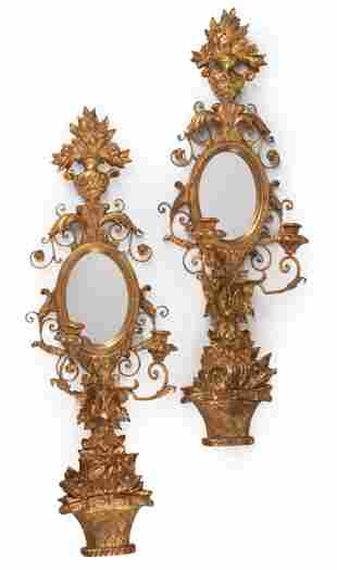 Italian Carved Giltwood Girandole Mirrors
