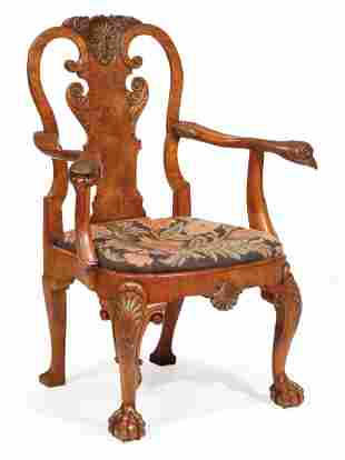 George II-Style Carved Walnut Armchair