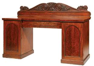 American Carved Mahogany Pedestal Sideboard