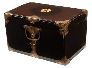 Japanese Brass-Mounted Black Lacquer Trunk