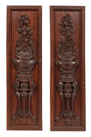 Good Pair of Chinese Hardwood Relief Panels