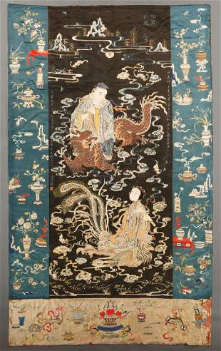 Chinese Embroidered Silk Panel