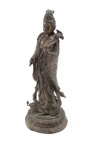 Chinese Patinated Bronze Figure of Guanyin