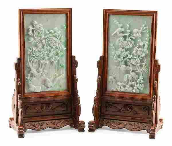 Chinese Jadeite and Hardwood Table Screens