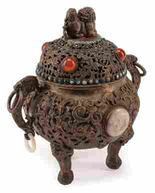 Chinese Silvered Bronze Covered Censer