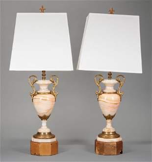 Bronze-Mounted Onyx Urn Lamps