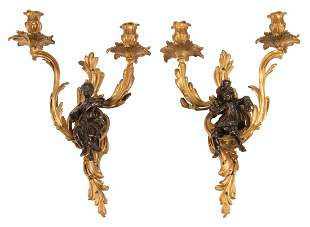 Gilt and Patinated Bronze Figural Sconces