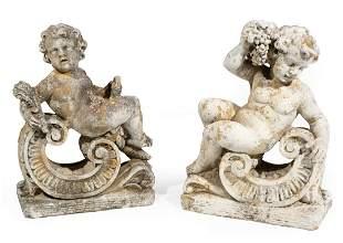 Pair of Cast Concrete Garden Ornaments