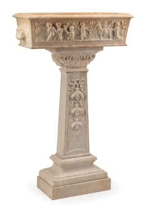 Italian Carved Marble Jardiniere on Pedestal