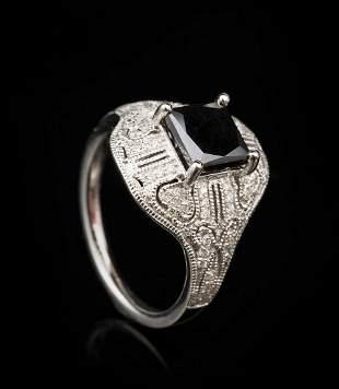 Platinum, Diamond Art Deco-Style Ring