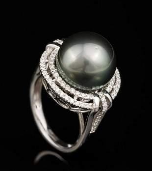 Platinum, Tahitian Pearl and Diamond Ring