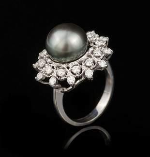 Gold, Tahitian Pearl and Diamond Ring