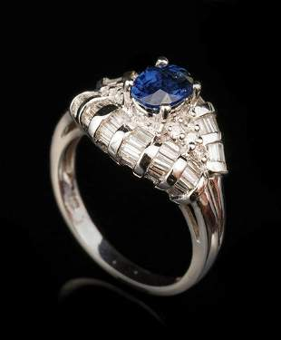 Gold, Sapphire and Diamond Ring & Earrings