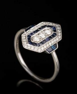 Gold, Diamond and Sapphire Art Deco Ring