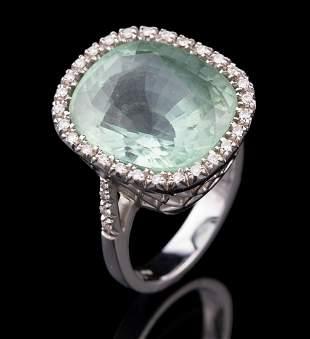 White Gold and Cushion-Cut Aquamarine Ring