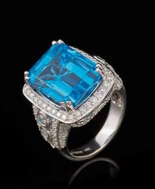 White Gold, Blue Topaz and Diamond Ring