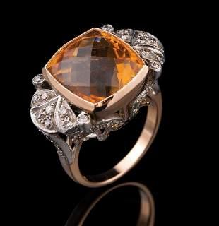 Gold, Citrine and Diamond Ring